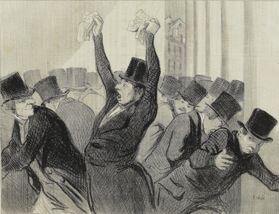 Caricature de panique à la bourse en 1845